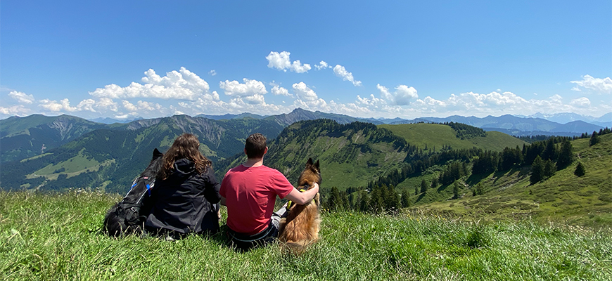 Aussicht in die Berge beim Wandern mit Hund.